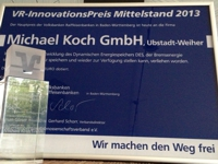 Trophy of the VR Innovation Prize 2013 for small and medium-sized enterprises