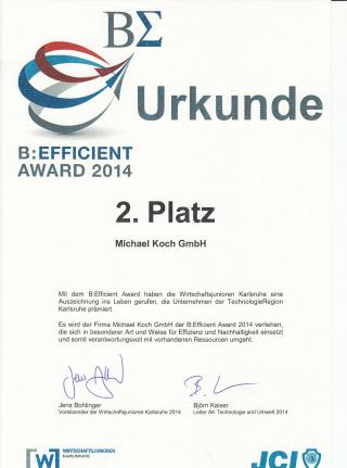 Urkunde 2. Platz B:efficient Award 2014