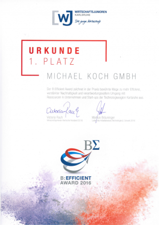 Urkunde des B:Efficient Award 2016