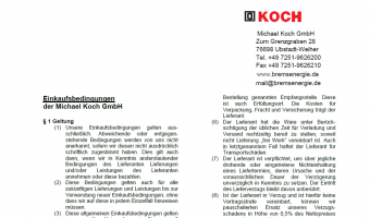 Here you see the general Purchsing Conditions of Michael Koch GmbH.
